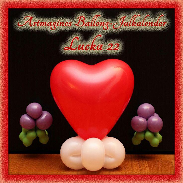 Artmagines Ballong-Julkalender Lucka 22: En kyss under ballong-misteln får allas ballong-hjärtan att smälta. Vi gör en ny ballong-kreation varje dag fram till jul!