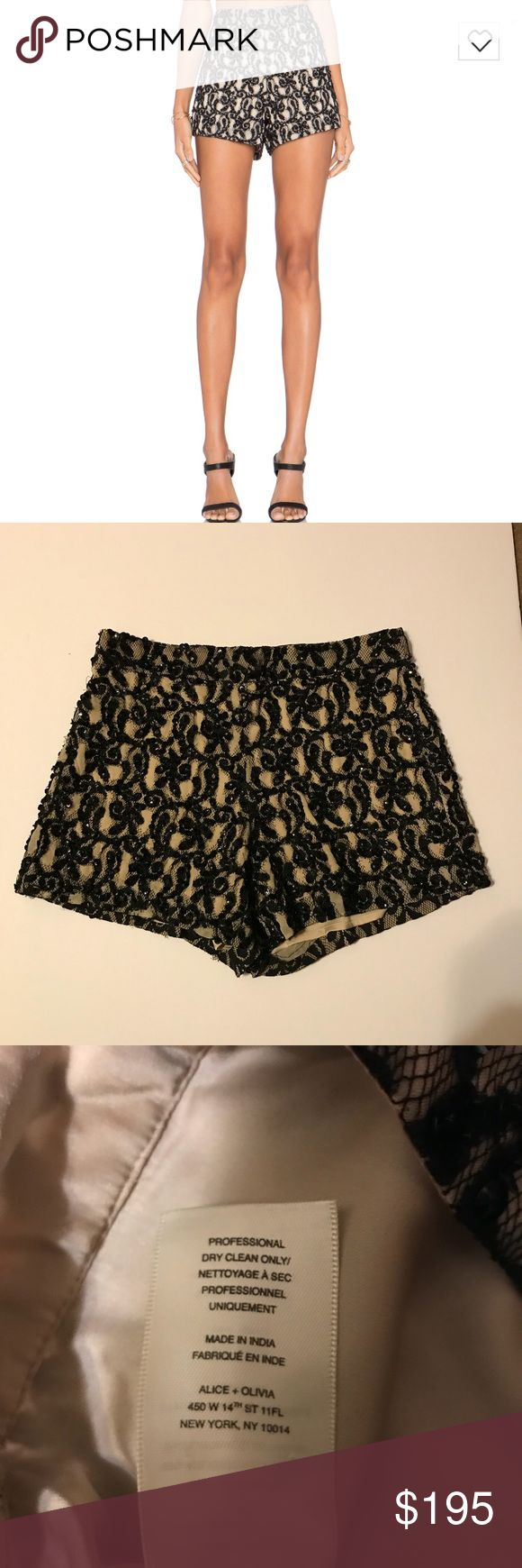 Alice + Olivia embellished shorts Alice + Olivia Style #c506157765 Cream shorts with black lace and sequin details Original tag was removed for comfort of wear however brand tag with style number and brand name still intact. Please see photos Alice + Olivia Shorts