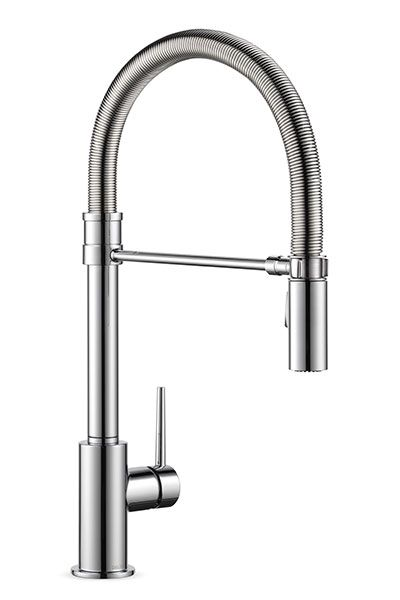 Tightly coiled for easy cleaning and scaled to fit under kitchen cabinets, this 18-inch-high version of a commercial faucet goes on with a quick knuckle rap. The spray head docks neatly with the help of a magnet. In Arctic Stainless or chrome. Trinsic Pro, available in August, from about $500; deltafaucet.com