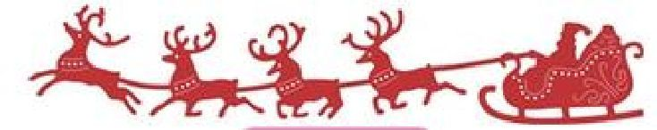 """Santa's Sleigh and Reindeer - $11.95   Santa's Sleigh and Reindeer from Cheery Lynn Designs - Santa and his reindeer make their Christmas dash across the sky!  Pair this die with the Winter Neighborhood Border for a fabulous easy to make Christmas card!  Approximately 5 1/2"""" x 1"""""""
