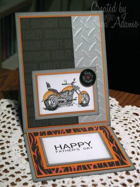 Motorcycle Easel Card by Darleen Adamo