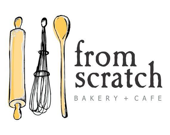 premade logo whisk rolling pin baking bakery logo hand drawn illustrated logo business logo design home bakery cafe restaurant logo - Design Names Ideas