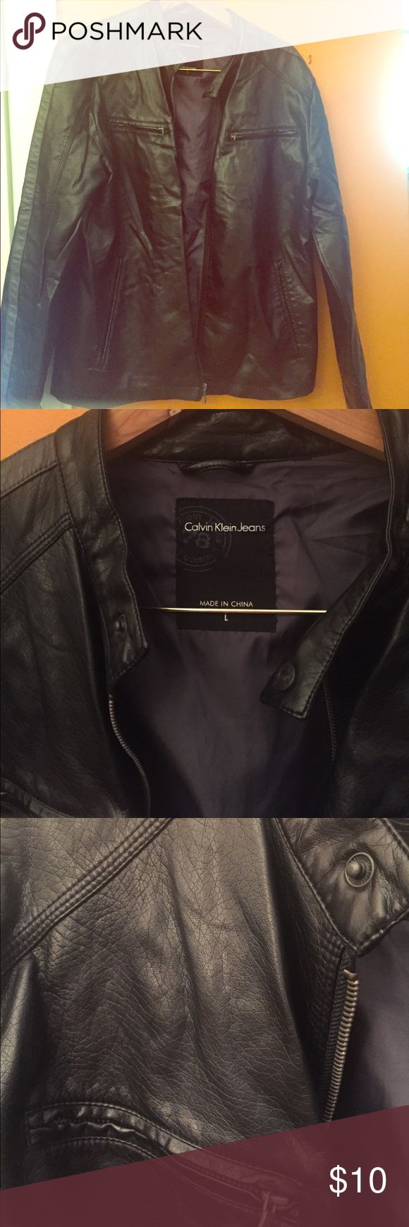 Smooth faux leather jacket for men Worn a few times in great condition Calvin Klein Jeans Jackets & Coats