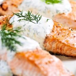 Salmon with Creamy Dill Sauce Recipe on BigOven: There's nothing like fresh salmon, and my mom bakes it just right so it nearly melts in your mouth. The sour cream sauce is subtly seasoned with dill and horseradish so that it doesn't overpower the delicate salmon flavor. -Susan Emery Everett, Washington