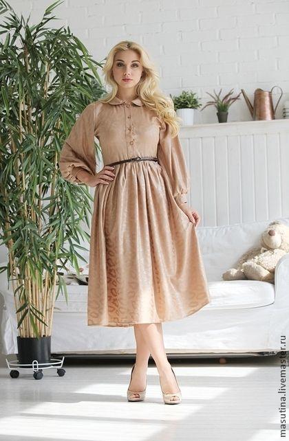 "Платье ""Золушка"" - бежевый,трикотажное платье,шитое платье,платье 2014"
