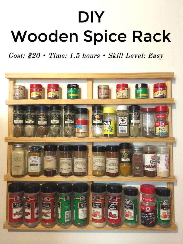 Easy DIY Wooden Spice Rack- you don't need any special equipment or expertise to make these. It's lots of fun and I've had mine in three different houses!