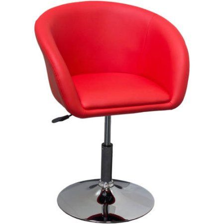 Best Master Furniture Tufted Vinyl Adjustable Height Swivel Short Bar Stool, Set of 2, Multiple Colors Available, Red