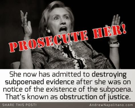 Hillary Clinton's Latest Scandal? Obstruction of Justice. She needs be prosecuted.