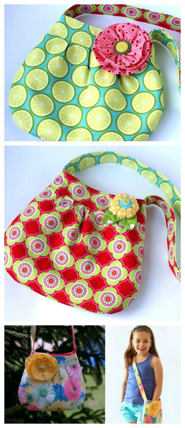 Instant digital download. Girls flower bag tutorial. Original double-sided children's bag with a patch pocket on one side, magnetic snap closure and shoulder strap; complete with two brooches.