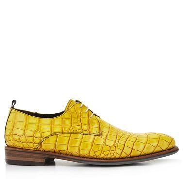 14394/02 - Floris van Bommel gele crocoprint heren veterschoen