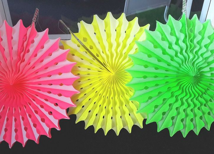 Honeycomb Waaiers Neon - 45cm