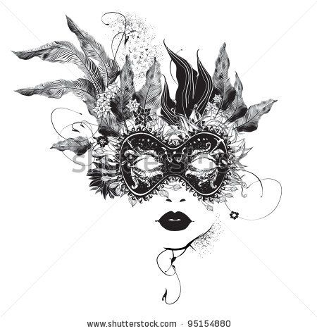 stock vector : Abstract woman mask with flowers black and white