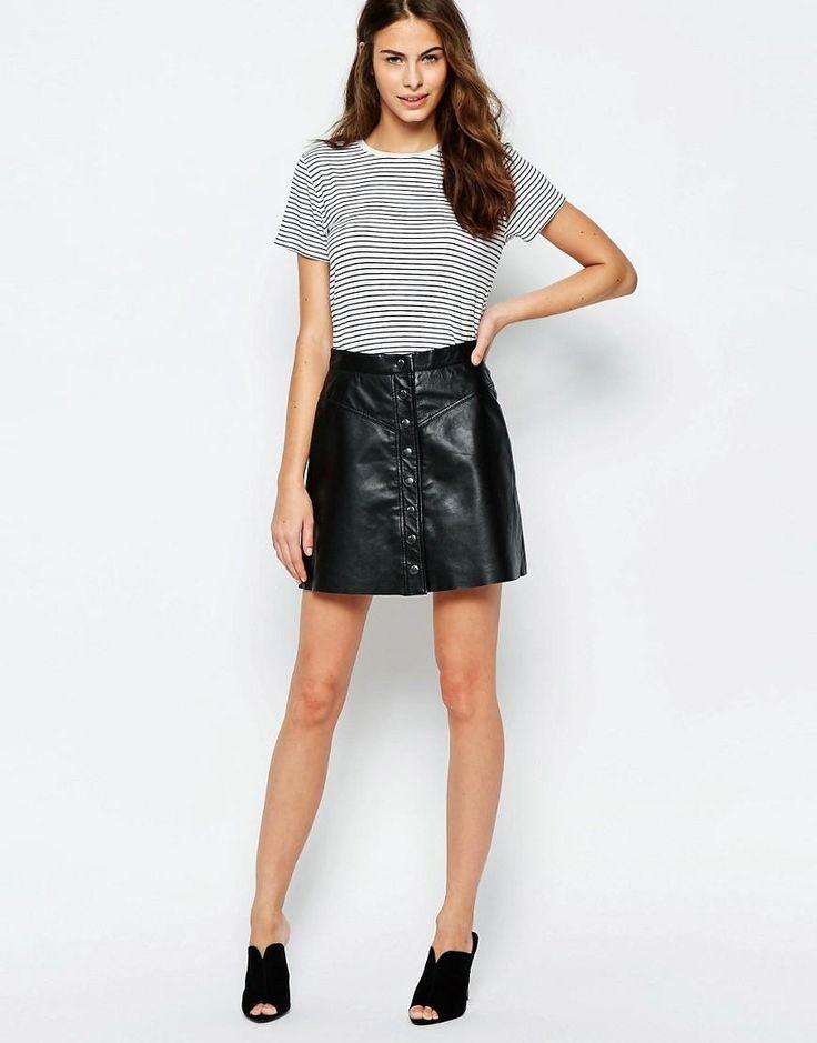 Muubaa | Muubaa Holland Button Front Leather Skirt at ASOS