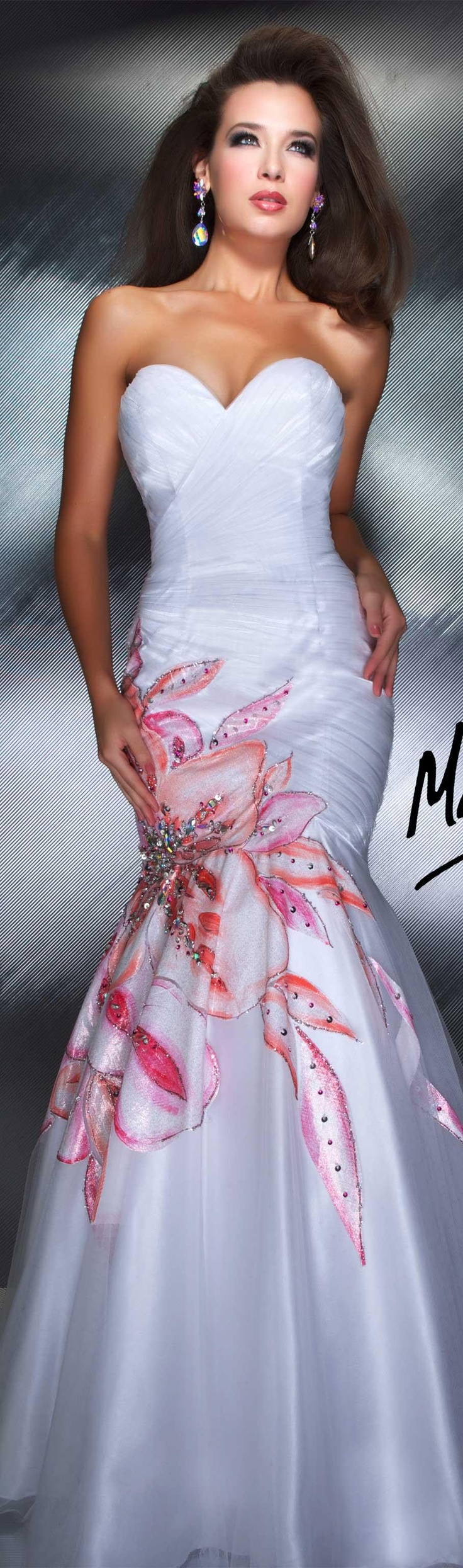 couture gown white with multi  color, strapless