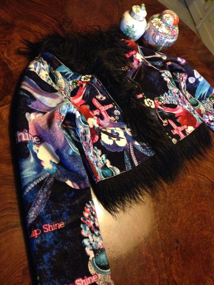 #Custo Monkey faux fur jacket and iridescent fabric