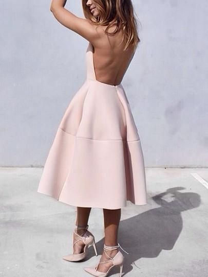 backless flare dress, pink flare dress, trendy backless dress - Crystalline