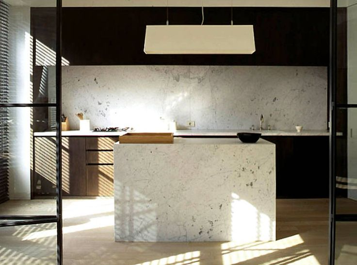 contemporary kitchen-limed oak and black cabinets white marble countertops and island limed oak floors | P - Projects - Vincent Van Duysen