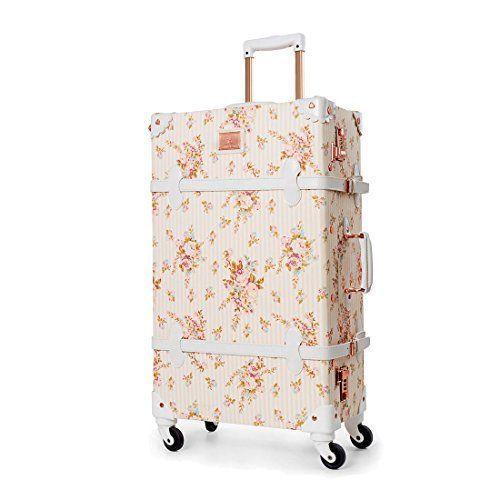 BEAUTIFUL <b>Travel Spinner Suitcases</b> TSA Lock Vintage Cute ...