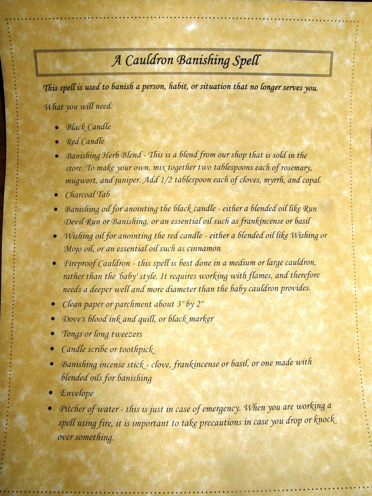 A Cauldron Banishing Spell Printable Spell Pages