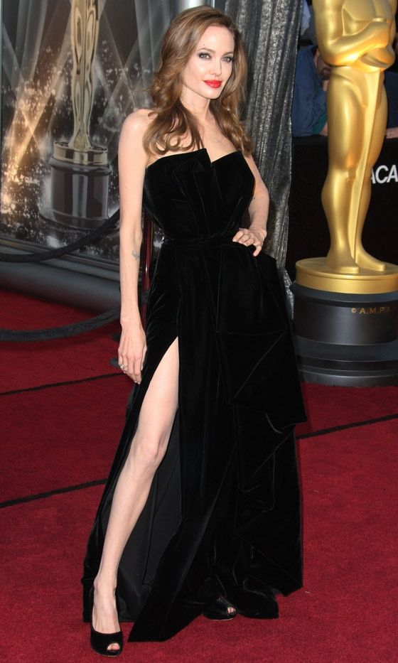 Angelina Jolie In Atelier Versace At The Oscars, 2012