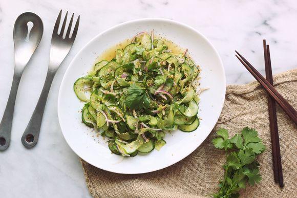 Spicy Ginger Sesame Cucumber Salad http://blog.freepeople.com/2014/07/spicy-ginger-sesame-cucumber-salad/