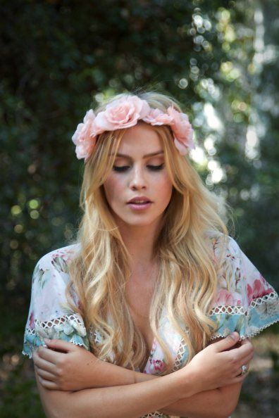 Claire Holt wearing flower crown for Gemma Peanut Gallery