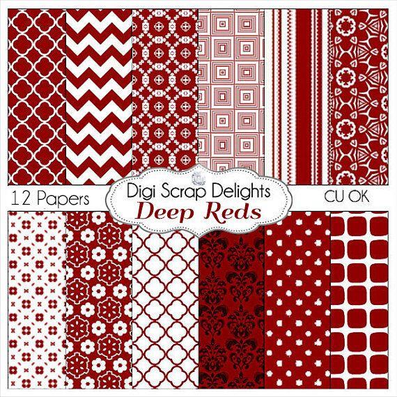 Deep Reds Digital Scrapbook Paper Backgrounds, Dark Red,  CU, Chevron, Quatrefoil, Instant Download