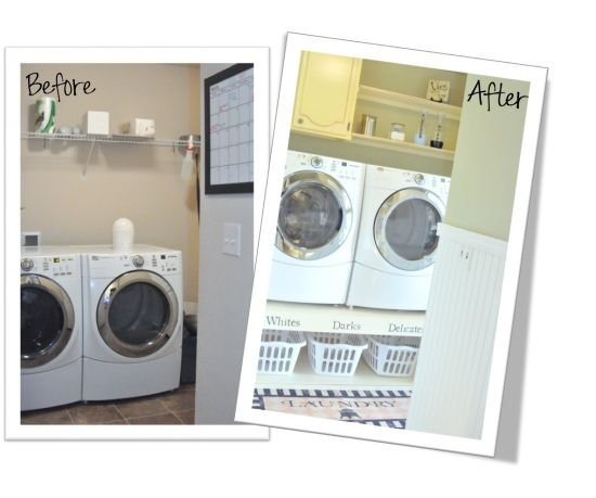 Love the raised washer / dryer with baskets underneath!  So much easier to use them!Laundry Room Storage, Dryer Rai, Small Laundry Room, Room Reveal, Washer And Dryer, Room Ideas, Laundry Rooms, Laundry Baskets, Laundry Room Makeovers