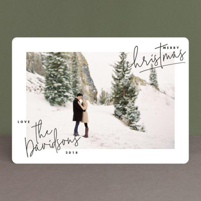 greenery holiday card Seasonal photo card wedding card It/'s a Wonderful Life Christmas card Married and Merry Christmas card with photo