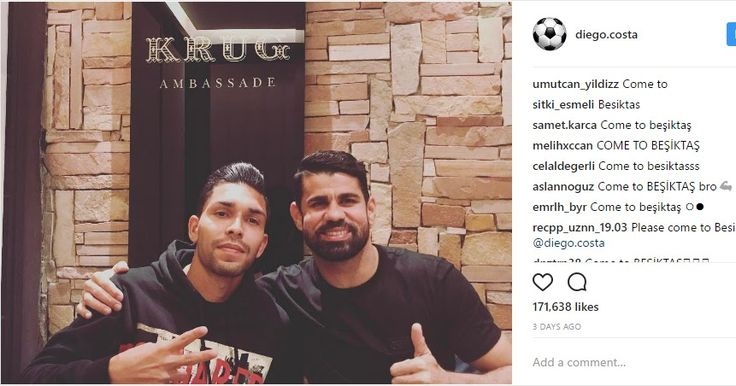 Unsettled Chelsea striker Diego Costa bizarrely has broken the record for most commented post on Instagram
