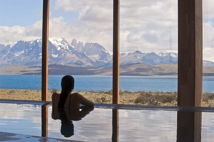 Look out on Patagonia straight from the pool at Tierra Patagonia in Chile.