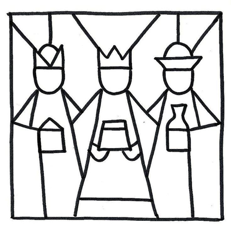 Šablona Tří králů k  vybarvení slupovacími barvami 2