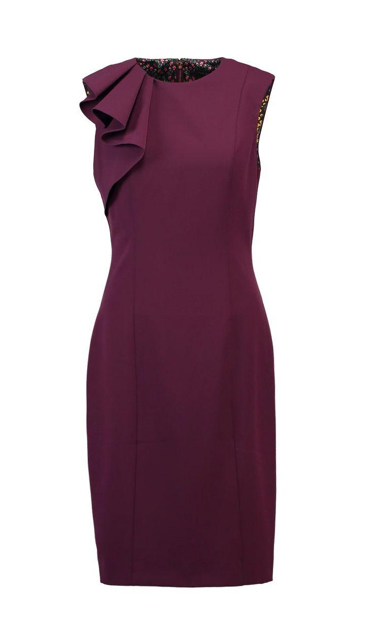 Burgundy frill shoulder sheath dress | Ted Baker