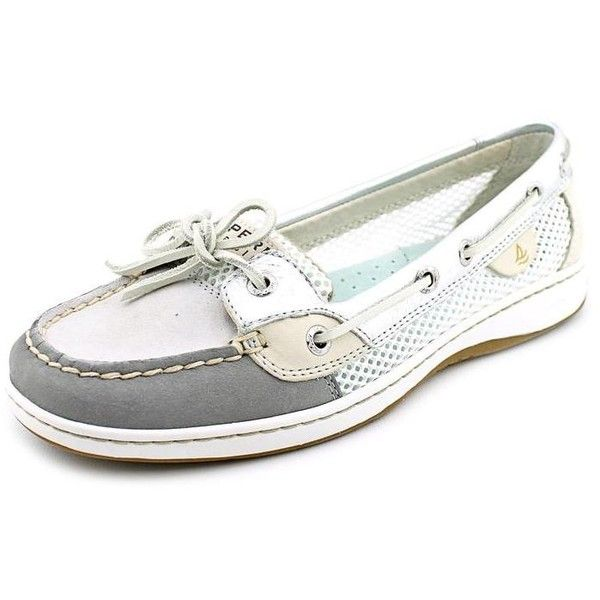 Sperry Top Sider Angelfish Women Boat Shoes ($60) ❤ liked on Polyvore featuring shoes, loafers, silver, sperry top-sider shoes, leather deck shoes, nautical boat shoes, grey shoes e deck shoes