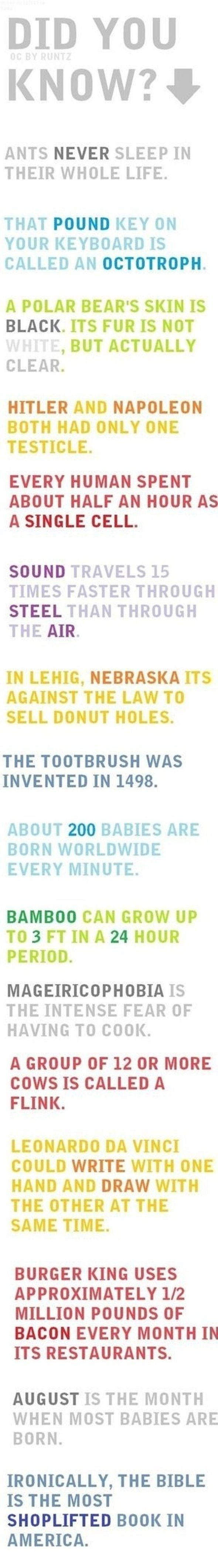 Did you know . . . AWESOME!  (And I knew about half of them...)