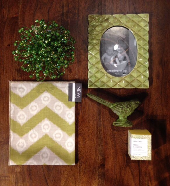 A green theme! New fabrics, picture frames, candles, and home accessories!