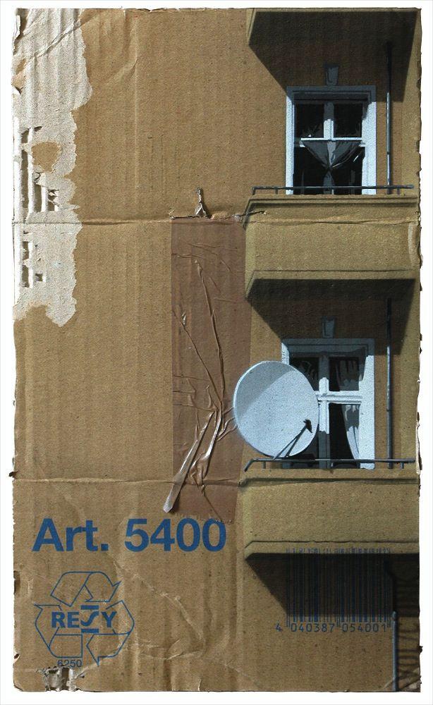Evol's artwork on cardboard