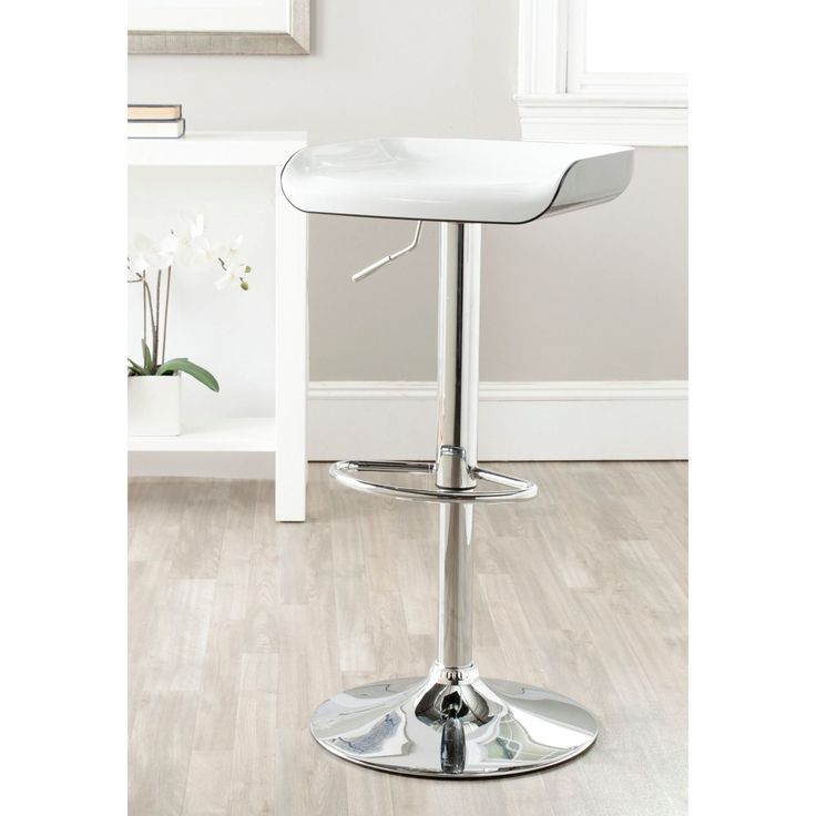 Safavieh Rameka White/Black Adjustable 24-32-inch Bar Stool (FOX7500A) (Chrome)