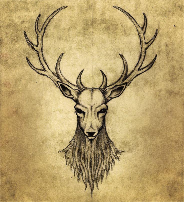 Image De Art Deer And Drawing: Elk Stag Cernunnos