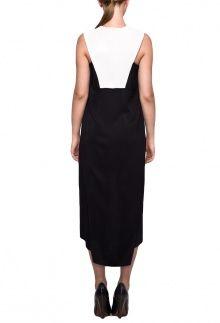 Черно-белое асимметричное платье
