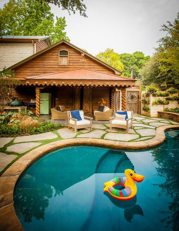 awesome kidney shaped swimming pools design steps shallow end backyard ideas stone slabs