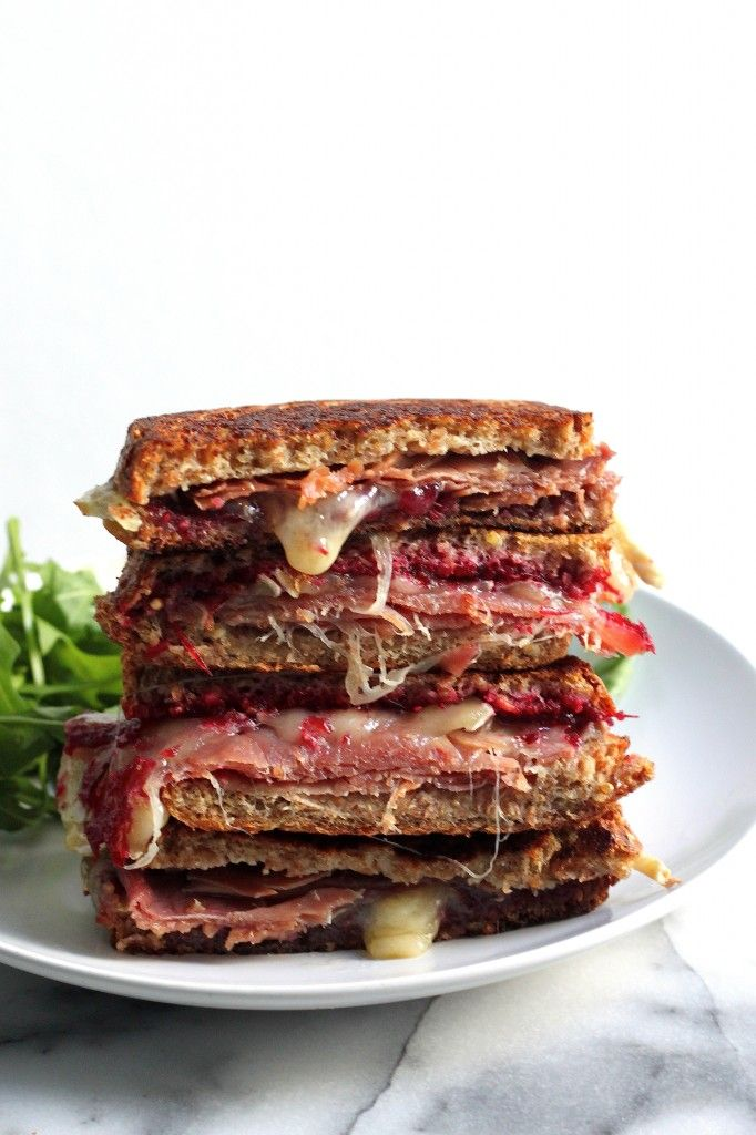 Cranberry, Brie, and Prosciutto Grilled Cheese - Homemade Cranberry Jam, Salty Prosciutto, and Melty Brie = The Best Grilled Cheese... EVER!