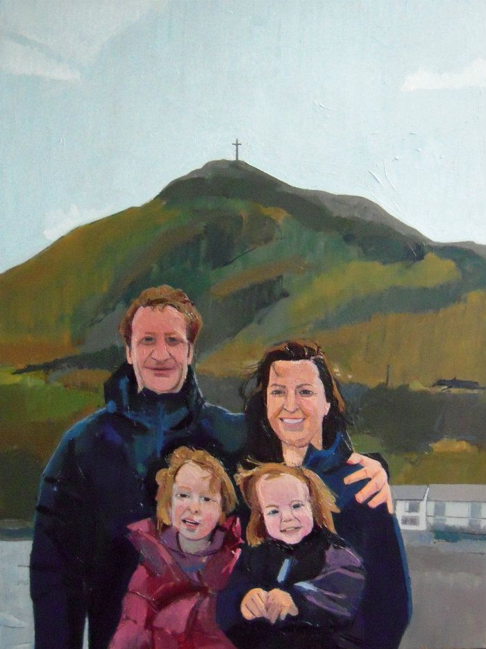 Family Portrait, Bray Head. Oil on canvas. 90cm x 70cm, framed. In private collection, Ireland.  I finished this commission in June 2015. The family is standing in front of Bray Head, one of the  most important and beloved landmarks in County Wicklow. The painting was done using five photographs in various poses on a chilly spring day in front of Bray Head, and as I had never met any of the family members (it was a surprise gift for them), the painting was really a process of getting to know…