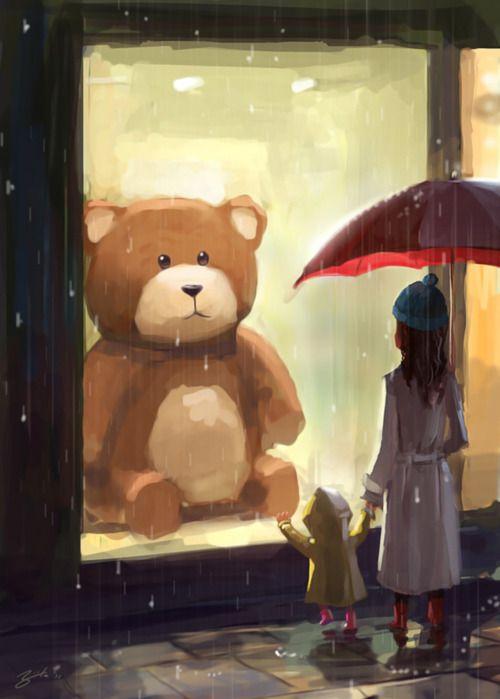 Goro Fujita: admiring teddy in the rain