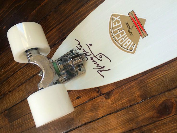 From my own collection (Chris Middleton): Signed G&S Fibreflex Henry Hester slalom deck (reissue); chrome-polished Gull Wing HPG trucks (70s); Road Rider 68 wheels; Bones Swiss bearings. #skateboard #70s
