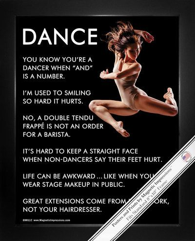 "Dancer Jump Poster Print is full of inspiration! Funny quotes and a dancer in midair make this the perfect dance gift. ""You know you're a dancer when ""and"" is a number,"" is just one of the motivationa"