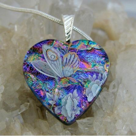 #ladybird2turtle #pinadaysep #silver Butterfly Heart Dichroic Glass Pendant includes necklace H34 on Handmade Australia $22.00