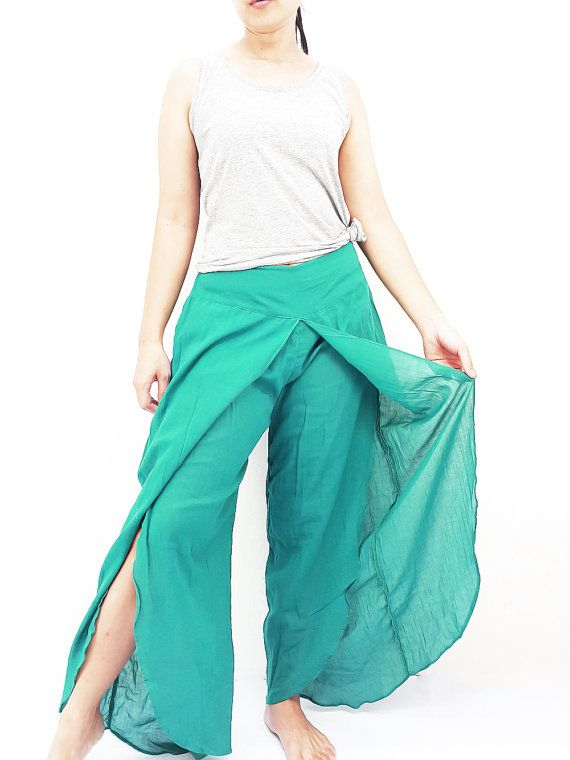 SOS21 Women Fashion Trouser Pants Maxi Trouser Cotton Pants Trouser Comfy Trouser Open Leg Wide Leg Plain Color Solid Color Green Teal