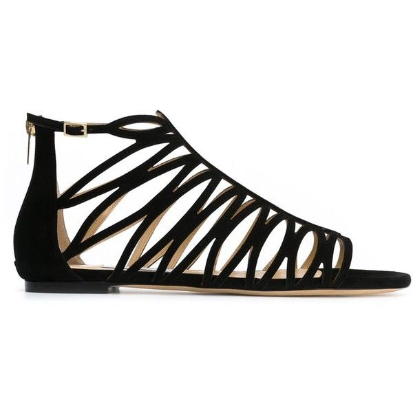 Jimmy Choo Kerim Flat Sandals found on Polyvore featuring shoes, sandals, flats, sapatos, black, ankle strap sandals, black strap sandals, strappy sandals, black sandals and black suede flats