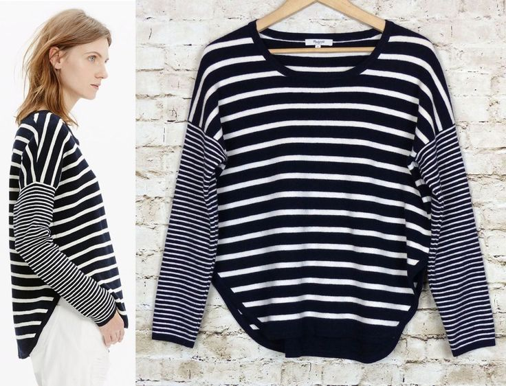 Madewell Striped Curved Hem Navy Blue Ivory Nautical Sailor Oversized  Sweater S #Madewell #BoatNeck